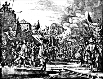 The Siege of Galle Fort depicted